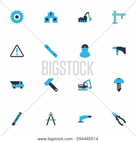 Industrial Icons Colored Set With Pliers, Church, Excavator And Other Builder Elements. Isolated Vec