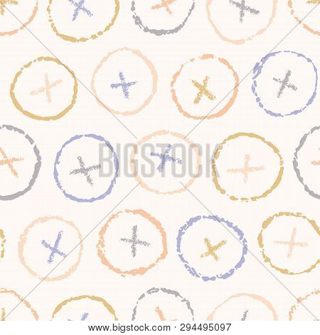 Hand Drawn Criss Cross Polka Dot Circles Seamless Pattern. Sketchy Organic Dotty Button Vector Illus