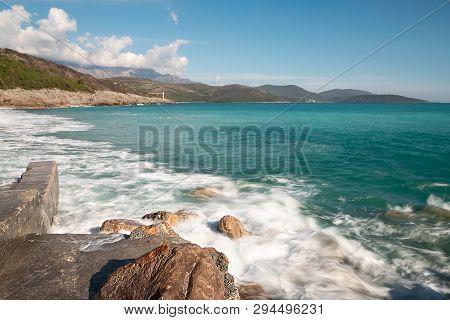 Rocky Beach On Adriatic Sea Landscape. Rocky Shore And Sea Landscape. Sea Horizon View In Montenegro