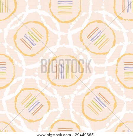 Hand Drawn Polka Dot Lines Circles Seamless Pattern. Sketchy Organic Dotty Vector Illustration.