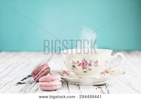 Bavaria Winterling Footed Tea Cup With Macarons