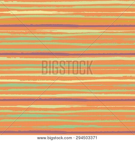 Tropical Horizontal Painterly Green, Yellow, Purple Grunge Stripes. Seamless Vector Pattern On Orang
