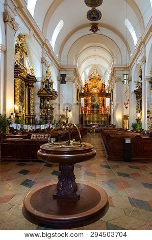 Prague, Czech Republic - January 22, 2019: Church Of Our Lady Of Triumphant (church Of Our Lady Vict
