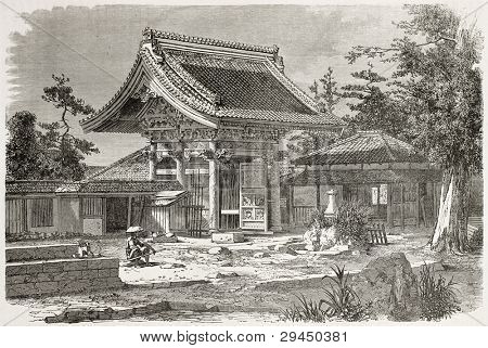 American legation in Yedo (Tokyo) old illustration. Created by Therond after photo by unknown author, published on Le Tour du Monde, Paris, 1867