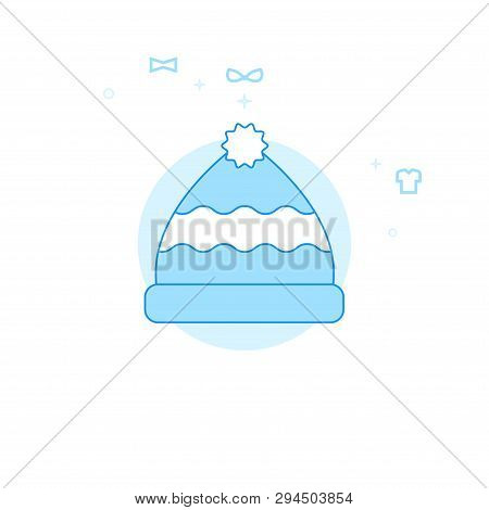 Winter Hat With Pom Pom Flat Vector Icon. Clothes Or Garments, Wear Illustration. Light Flat Style.