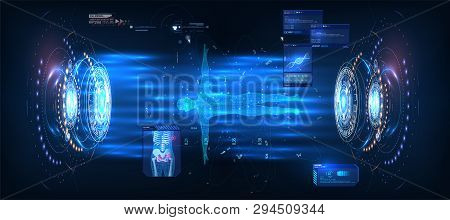 Hud Ui Gui , Great Design For Any Purposes. Blue Technology Background Vector Illustration. Futurist