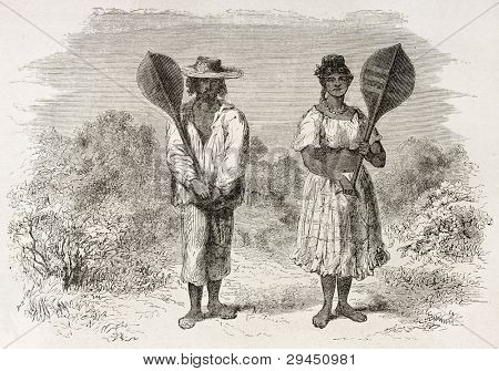 Mestizo man and woman in Sao Paulo de Olivenca, Brazil. Created by Riou, published on Le Tour du Monde, Paris, 1867