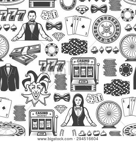 Casino Poker Gambling Game Seamless Pattern. Vector Background Of Casino Poker Ace Cards, Slot Machi