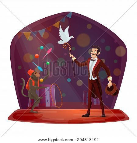 Circus Illusionist And Trained Monkey Juggling Pins. Big Top Circus Magician Man With Hat And Stick,