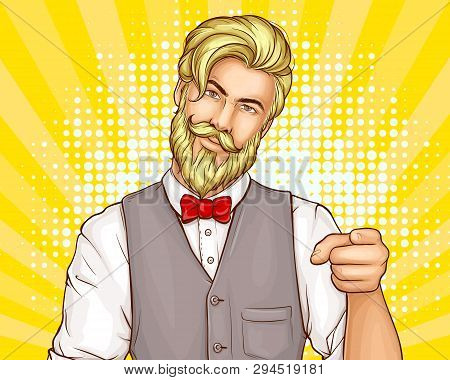 Attractive, Bearded Hipster Man In Business Suit Waistcoat, Red Bow Tie On White Shirt, Pointing Wit