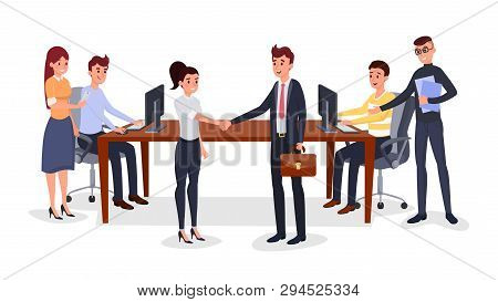 Successful Business Meeting Vector Illustration. Cheerful Colleagues, Coworkers Cartoon Characters.