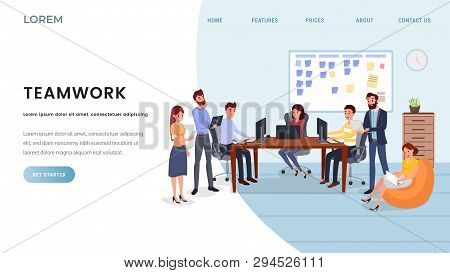 Business Company Landing Page Vector Template. Professional Team Service Website, Teamwork Webpage C