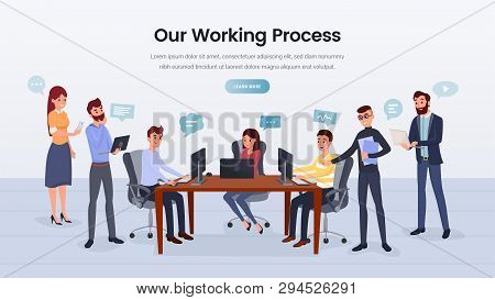 Business Team Working Process Landing Page Layout. Company Cooperation Webpage Concept. Smiling Coll