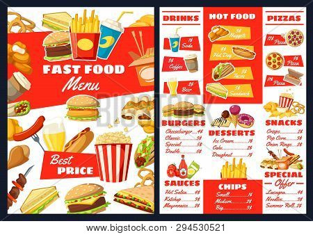 Fast Food Restaurant Menu, Price For Hot Dogs, Burgers Or Sandwiches And Desserts. Vector Fastfood T