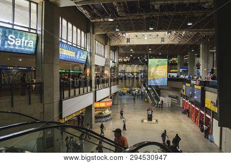 Guarulhos - Sp, Brazil - February 20, 2019: Indoors Of Gru Airport, Terminal 2. Aeroporto Internacio