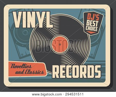 Vinyl Record Disk Vintage Poster. Vector Retro Music Vinyl Player Store Or Dj Musical Instruments Sh