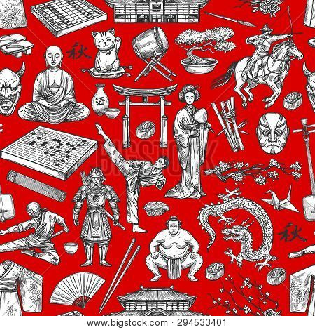 Japan History And Traditional Culture Items Seamless Pattern. Vector Sketch Background Of Sushi, Gei
