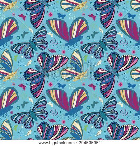 Multicolor Folk Art Style Hand Drawn Butterflies. Seamless Vector Pattern On Textured Blue Backgroun