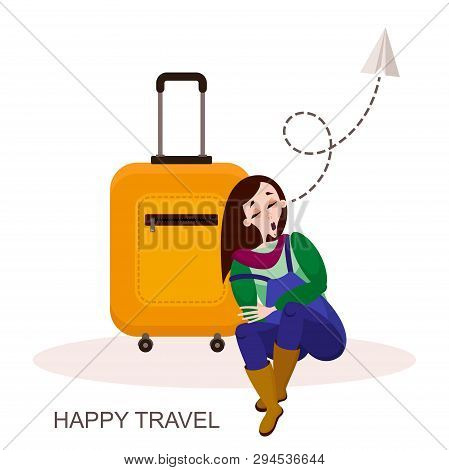 Ride, Trip. Character Traveler. A Young Tired Girl Dozed Off On Her Suitcase In The Airport Lounge O