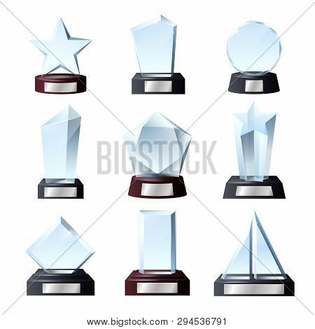 Glass Awards And Crystal Trophy Prizes. Vector Realistic Empty Blank Transparent Star, Circle Or Rec