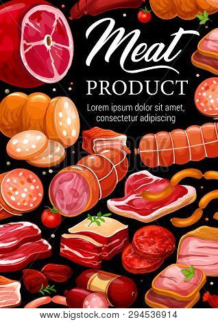 Meat And Sausages, Butchery Shop Gourmet Pork And Beef Products. Vector Grocery Store Food Of Salami