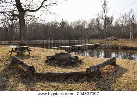 Idyllic Bbq Site By Lakeside In Early Springtime