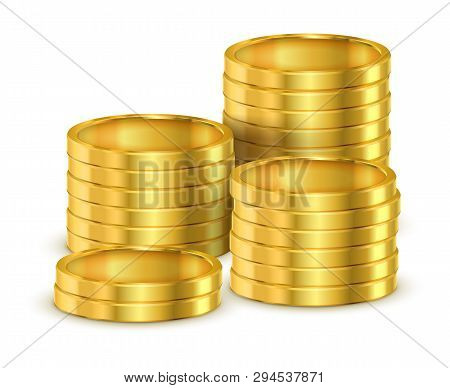 Pile Of Golden Coins Or Heap Of Gold Money For Casino. 3d Or Realistic Shining Cash, Tower Or Stack