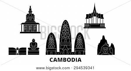 Cambodia Flat Travel Skyline Set. Cambodia Black City Vector Illustration, Symbol, Travel Sights, La