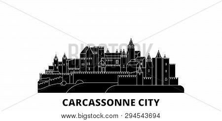 France, Carcassonne City Flat Travel Skyline Set. France, Carcassonne City Black City Vector Illustr