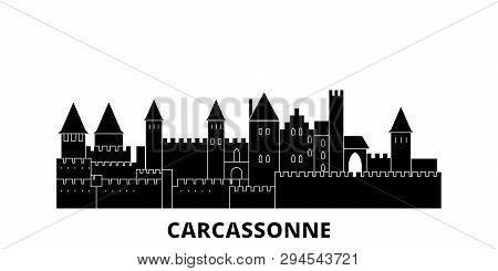 France, Carcassonne Landmark Flat Travel Skyline Set. France, Carcassonne Landmark Black City Vector