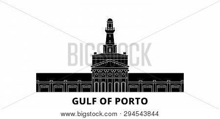 France, Corsica, Gulf Of Porto Flat Travel Skyline Set. France, Corsica, Gulf Of Porto Black City Ve