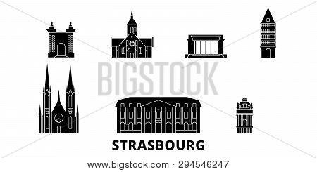 France, Strasbourg Flat Travel Skyline Set. France, Strasbourg Black City Vector Illustration, Symbo