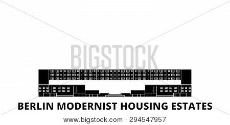 Germany, Berlin Modernist Housing Estates flat travel skyline set. Germany, Berlin Modernist Housing Estates black city vector illustration, symbol, travel sights, landmarks. poster