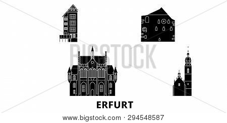 Germany, Erfurt Flat Travel Skyline Set. Germany, Erfurt Black City Vector Illustration, Symbol, Tra