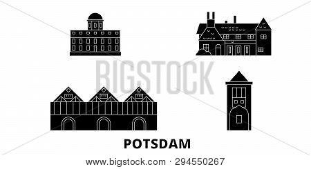 Germany, Potsdam flat travel skyline set. Germany, Potsdam black city vector illustration, symbol, travel sights, landmarks. poster