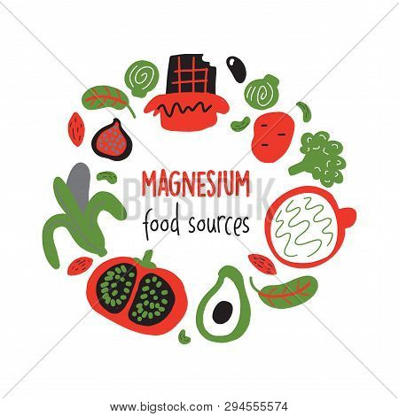 Hand Drawn Vector Illustration Of Magnesium Food Sources. Round Composition. Healthy Nutrition Conce