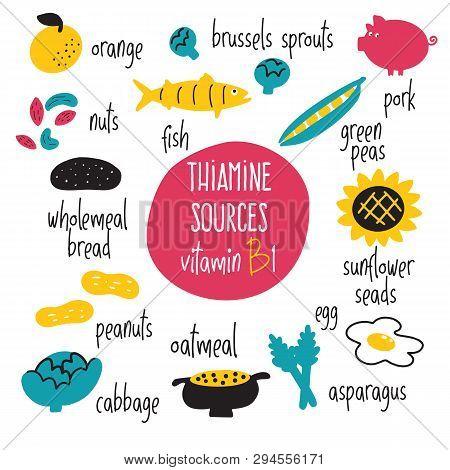 Vitamin B 1 Food Sources, Thiamine. Vector Cartoon Illustration. Health Eating Concept.