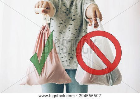 Ban Single Use Plastic, Stop Sign. Choose Plastic Free. Zero Waste Shopping Concept. Woman Holding I