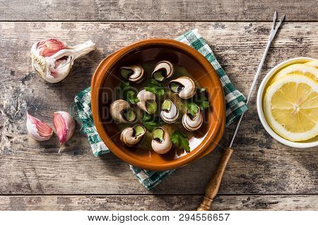 Escargots De Bourgogne. Snails With Herbs And Garlic Butter. Top View