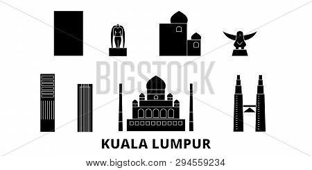 Malaysia, Kuala Lumpur Flat Travel Skyline Set. Malaysia, Kuala Lumpur Black City Vector Illustratio