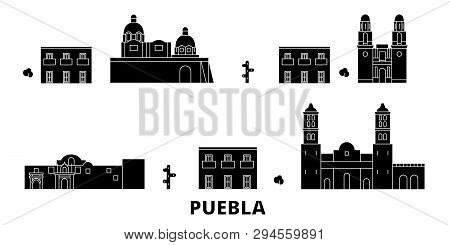 Mexico, Puebla Flat Travel Skyline Set. Mexico, Puebla Black City Vector Illustration, Symbol, Trave