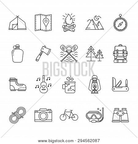 Set Of Hiking And Camping Icons, Camping Equipment Vector Collection, Outdoor Activities And Sports