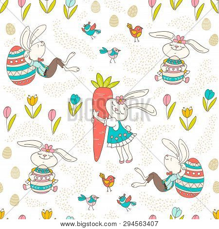 Hand Drawn Colorful Easter Bunny, Eggs, Birds In Doodle Style. Vector Seamless Pattern On Light Back
