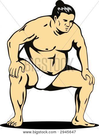 Sumo Wrestler Fighting Stance