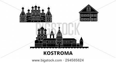 Russia, Kostroma Flat Travel Skyline Set. Russia, Kostroma Black City Vector Illustration, Symbol, T