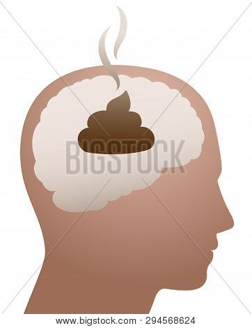 Shit In Your Head. Symbol For Foolishness, Folly, Ignorance, Idiocy, Stupidity, Nonsense, Whims. Vec