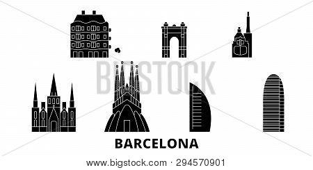 Spain, Barcelona City Flat Travel Skyline Set. Spain, Barcelona City Black City Vector Illustration,