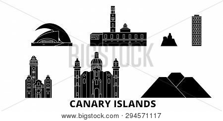 Spain, Canary Islands Flat Travel Skyline Set. Spain, Canary Islands Black City Vector Illustration,
