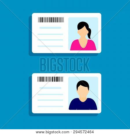 Identification Card With Personal Info Data. Identity Document With Person Photo And Text. Flat Desi