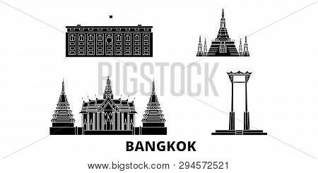 Thailand, Bangkok Flat Travel Skyline Set. Thailand, Bangkok Black City Vector Illustration, Symbol,